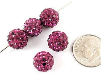 Shamballa Rhinestone Clay Pave Round Beads-FUCHSIA PURPLE PINK 10mm (5)