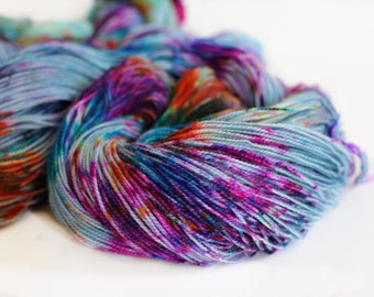 No. 2 Impressionist 400 yards on BFL 'Quartz' Sock Yarn/ 2 ply 80/20 wool hand painted yarn