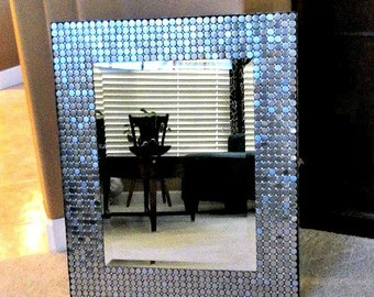 Large Industrial Modern Stainless Steel Penny Round Mosaic Mirror//Home Decor//Wall Decor//Rectangular Mirror//Silver Gray