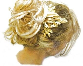 Gold wedding comb  vintage pearl 1940s wedding hair accessories Downton Abbey wedding