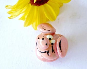 Vintage Miniature Pink Piglet , Painted glues and stacked rock Happy Smiling piggy Artisan Made OOAK Stone Pig Hog Mini Adorable Collectible