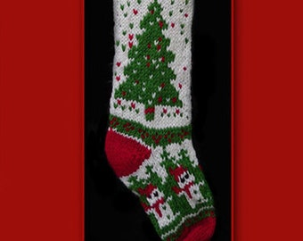 Hand knit Christmas stocking,  Personalized, made of pure wool yarn,  fully lined -- Christmas tree and snowman