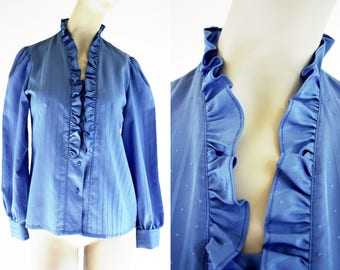 Jonquil Division of Judy Bond Inc. Blue Polyester Ruffle Front Long Sleeve Button Down Woman's Retro Blouse