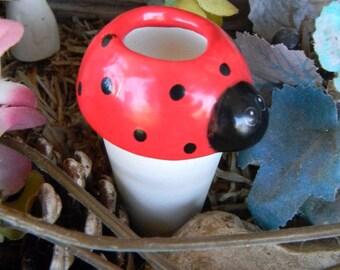 Water Spike Vintage Lady Bug   Water Tender watering stake-  ceramic    Water globe RED bug pottery