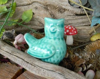 Water Spike Ceramic Bird  Pottery  Plant water system Feeds plants Water Globe Vintage style turquoise