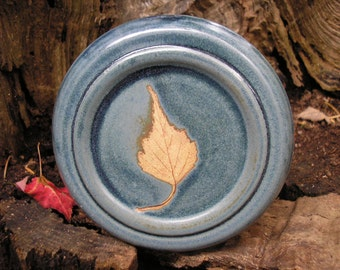 Gray Birch Leaf French Butter Keeper, keeps butter FRESH, butter crock, butter jar, butter dish, colonial blue