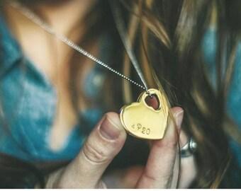 Gold heart pendant, Custom heart pendant, hand stamped heart pendant, Stainless steel heart pendant, Bff gift, a gold heart heals pendant
