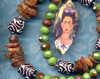 Frida Kahlo Necklace, Tribal African Beads Necklace, Russian Amber Necklace, Boho Artsy necklace, Frida Kahlo Porcelain Pendant Necklace