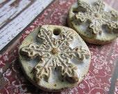 ClassicBead, Snowflake pendant in White, Handmade Stoneware, Art Bead, White Snowflake, Snowflake Pendant