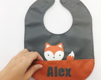 Fox leather baby or toddler bib with magnetic closure and food catcher pocket - can be personalized or customized