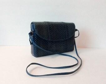 Vintage snakeskin Palizzio purse // 1980's handbag clutch // 80's genuine leather satchel