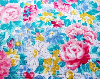 Japanese Fabric - Floral Fabric By The Yard - Romantic Roses - Cotton Fabric - Half Yard