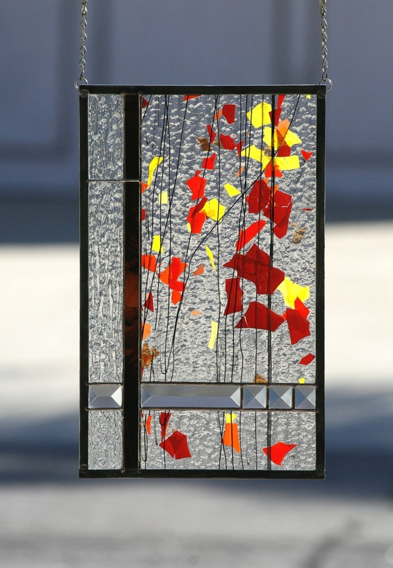 Autumn abstract stained glass window panel stained glass for 15 panel beveled glass door