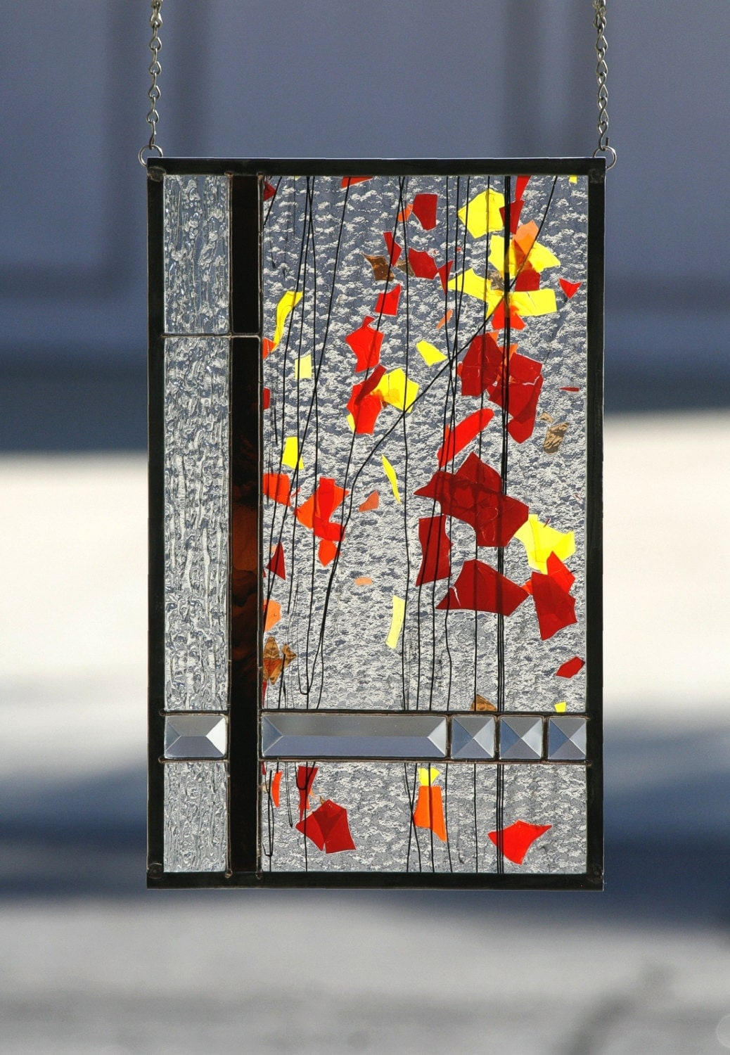 Autumn Abstract Stained Glass Window Panel Stained Glass
