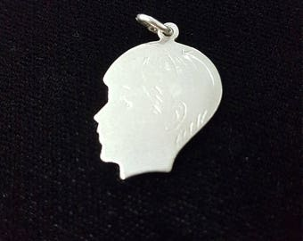 Boy Silhouette Sterling Silver Charm- Male Face Profile- Blank, Engraveable-Vintage Charm Pendant, Boy Charm, Head Charm, New Baby Charm