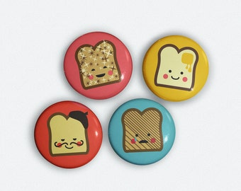 Happy Toast Magnets - Cute 1 inch Magnet set of 4