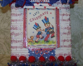Patriotic Decoration Cute July 4th Independence Day 4th of July Decoration Handmade Vintage Style Wall Hanging Plaque