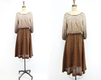 1970s Vintage Dress 70s Midi Dress 70s Boho Dress Vintage Ombre Dress Brown Midi Dress 70s Peasant Dress Dolman Midi Dress s to m