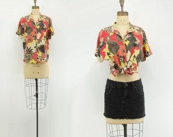 80s Tropical Shirt 80s Hawaiian Blouse Tropic Print Blouse Tropical Print Shirt Red Floral Blouse Vintage Floral Shirt Bright Floral s, m
