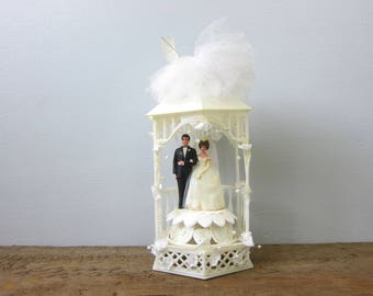 Wedding Cake Topper Bride and Groom in Garden Gazebo Plastic Top for Cake Wedding Decor 1960s Decor White dress and Veil Black Tuxedo GS