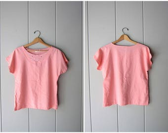 Thin Pink Boxy Top 80s Simple Pink Blouse Minimal Cap Sleeve Shirt Basic Slip Top Oversized Boho Tee Vintage Womens Small Medium