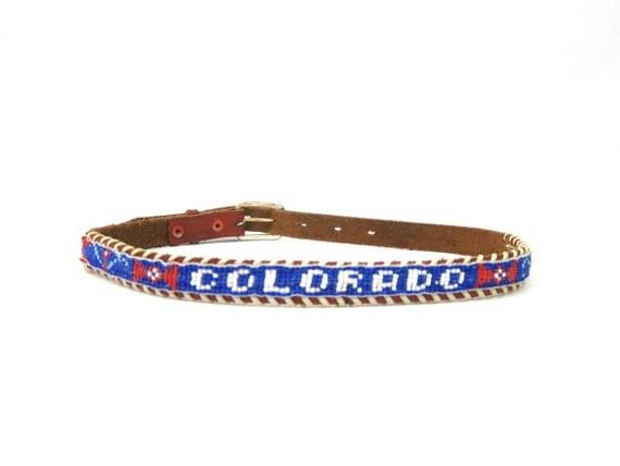 vintage leather beaded belt COLORADO western belt Southwestern Hipster Boho Belt Child's Belt or Woman's XXS