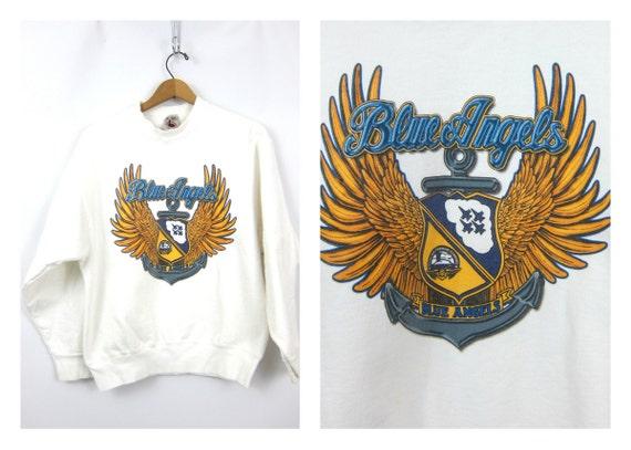 Blue Angels sweatshirt white 1996 sweatshirt Active Wear Sports Sporty Novelty Cotton Crewneck pullover Size Medium
