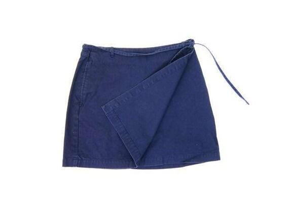 Navy Blue Wrap Skirt 90s ESPRIT Mini Skirt Basic Cotton Blue Khaki Skirt Minimal Preppy Simple Miniskirt Womens Small