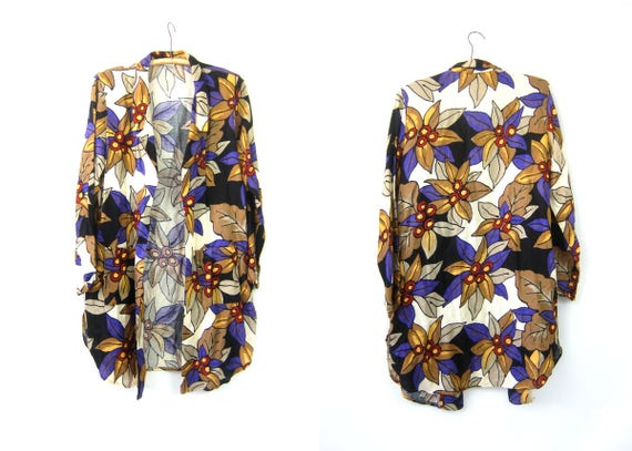 Bold Floral Print Blazer Long Oversized Rayon & Flax Open Fit Shirt Jacket Purple Flower Pattern Slouchy Cardigan Coat Vintage Womens Medium