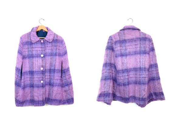 60s Purple Wool Cape Fuzzy Spring Caplet Vintage Plaid Wool Jacket Lilac Purple Mod Wool Poncho Modern Chic Cape Womens Small