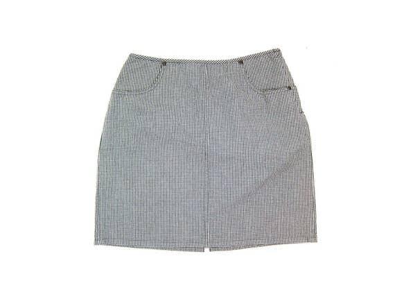 Vintage Checkered Mini Skirt Black & White Mod Skirt High Waist Miniskirt with Pockets Spring Summer School Girl Cotton Skirt Womens Medium