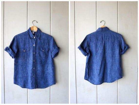 Vintage LINEN Button Up Shirt Indigo Blue Minimal Top Womens Denim Look Tshirt Modern Tee Basic Linen Top Preppy Womens Small