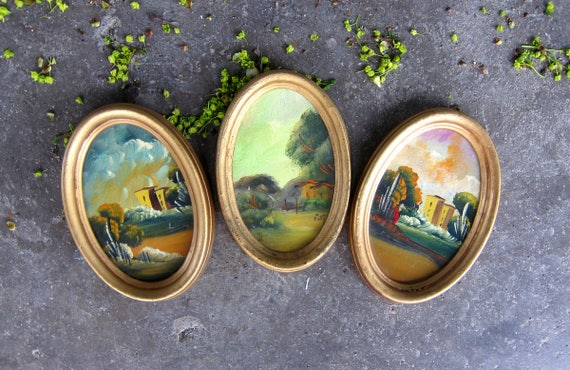 Small Paintings Small Vintage Gold Oval Frames Painted Folk Art Buildings Set of 3 wall hangings DES Home Decor Estate Sale