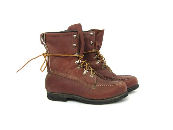 Vintage Leather Work Boots Mens Brown Lace Up Ankle Boots Heavy Duty Farmer Utility Moc Toe Construction Worker Boots Mens Size 7 C Narrow