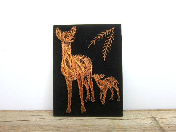 Copper Wire DEER String Art on Black Velvet Folk Art Retro Home Decor Wall Hanging Fawn and Doe Picture