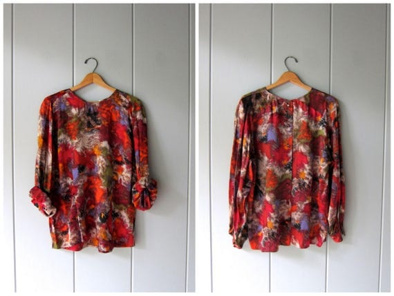 Vintage Silk Blouse 80s 90s Buttons Up The BACK Long Sleeve Slouchy Shirt Abstract Print Minimal Top Button Down Blouse Womens XL Large
