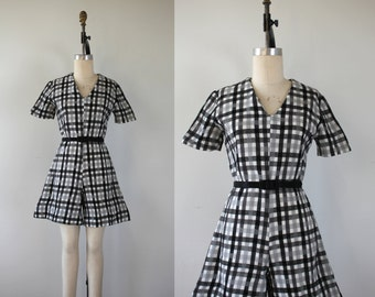 vintage 1960s romper / 60s plaid romper / 60s black white grey check jumpsuit / 1960s plaid dress / culottes / medium