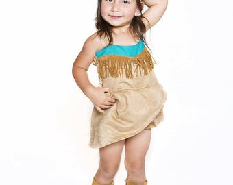 Disney Inspired Pocahontas suede Romper for Infants and Toddlers size newborn to size 6 girls