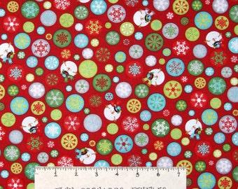 Christmas Fabric - Let It Snow Snowman Snowflake Dots Red - Benartex YARD