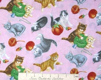 Pet Fabric - Purrfect Notions Cats Kitten Yarn Toss Pink - RJR YARD