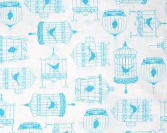 Timeless Treasures Fabric - Tweet Aqua Bird Cage on White Modern Quilting Yd
