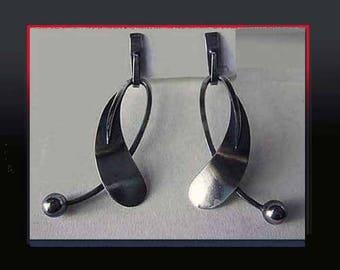 PAUL LOBEL Sterling Silver Dangle Earrings, Iconic NY Modernist, Mid Century Atomic Style, 1950s, Vintage Jewelry, Women
