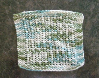 Hand Knit Dishcloth - measures aprroximately 9x9 inches - Color is greens, aquas, and off whites
