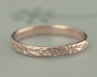 Rose Gold Wedding Band~Rose Gold Women's Band~10K Gold Romance Ring~Orange Blossom Pattern~Vintage Style Ring~Antique Style Band~Red Gold