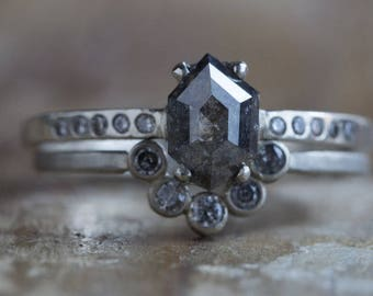 Natural Black Hexagon Diamond Ring with Pavé Diamond Band