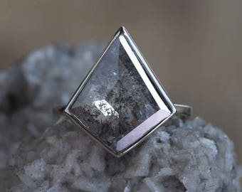 One of a Kind Large Natural Geometric Black Diamond Ring