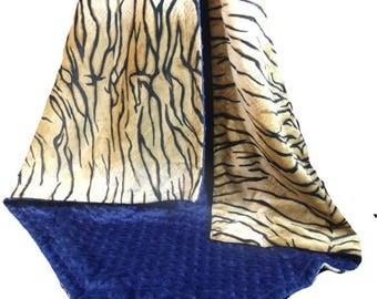 Photoprop CLEARANCE Minky Baby Blanket in Tiger Print with Navy Minky Dot, Navy Tiger Minky Blanket, Three Sizes,