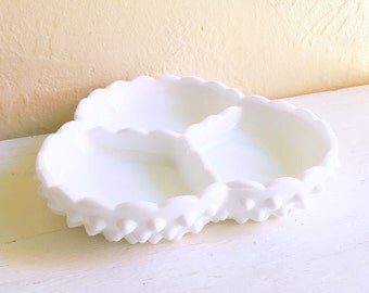 Stunning Fenton Hobnail Milk Glass White Dish 3 Compartments Heavy