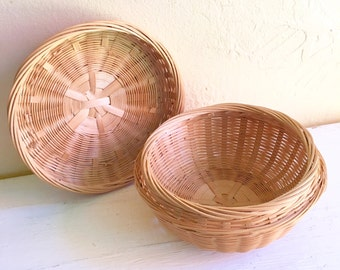 Vintage Woven Basket with Lid Storage Container Natural Excellent