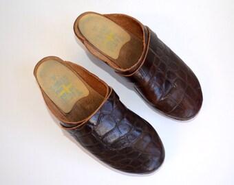 Vintage Brown Leather Swedish Clogs/ Crocodile Dark Brown Wooden Heel/ Tessa Clogs/ Size 37 7